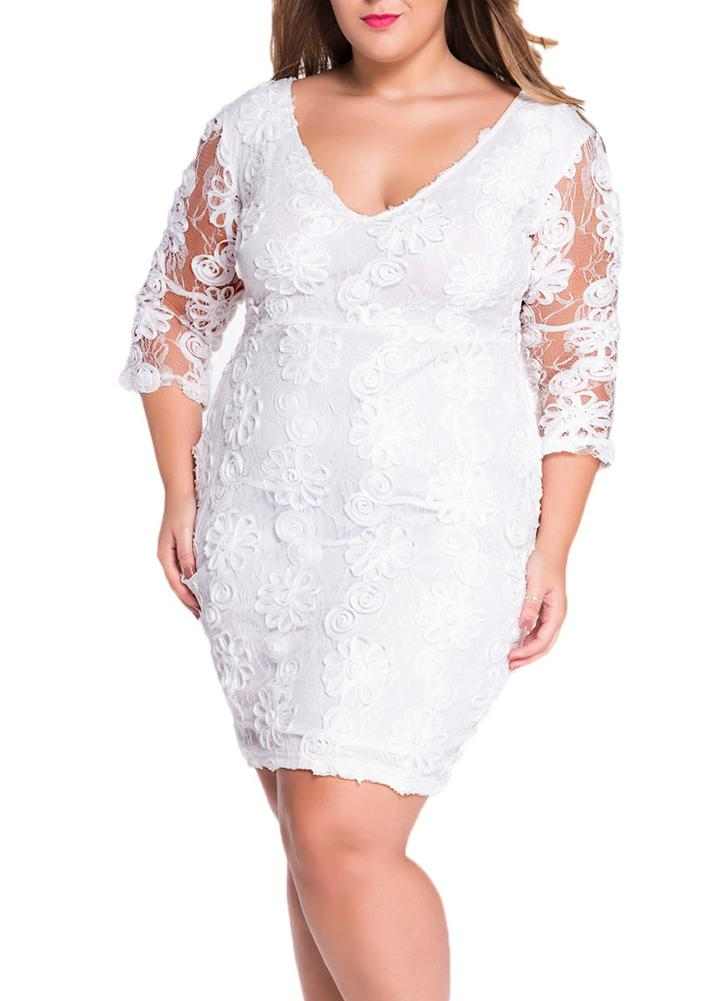 White Quarter Sleeves Elegant Lace Midi Dress