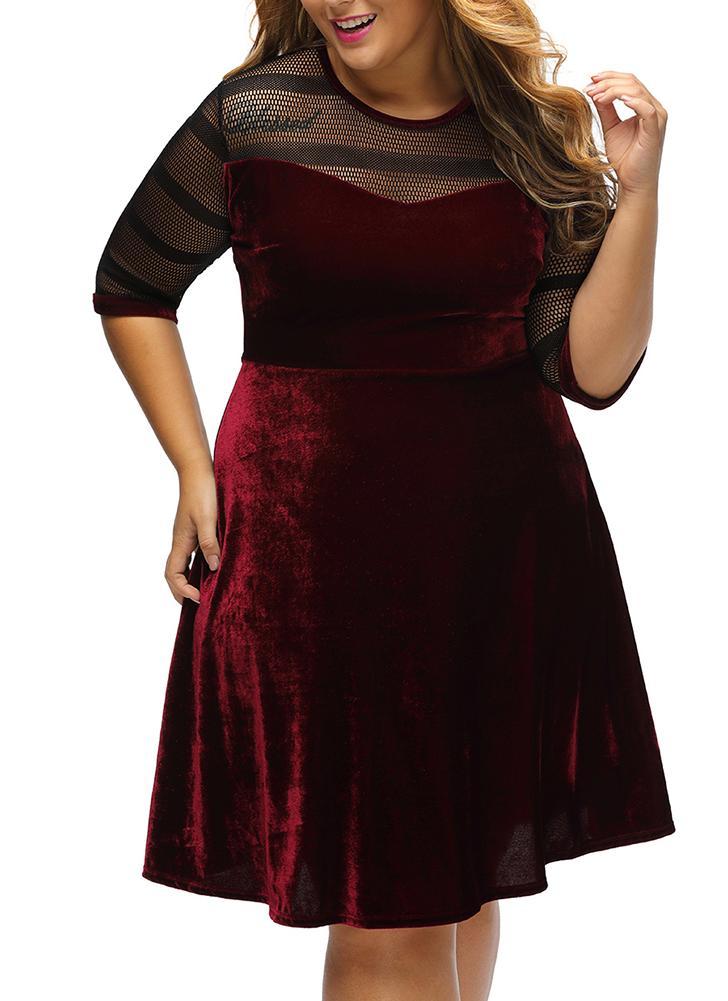Burgandy 3xl Plus Size Mesh Insert Velvet Half Sleeve Swing Dress