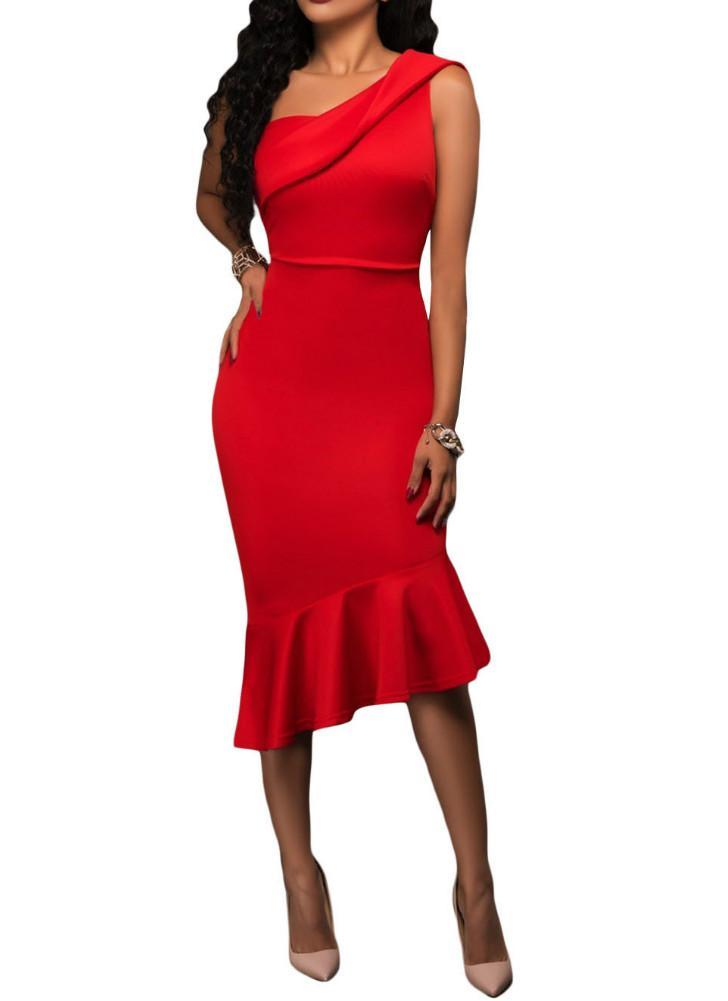 rot s Rote einzelne Schulter-Rüsche-Partei-Kleid - Chicuu