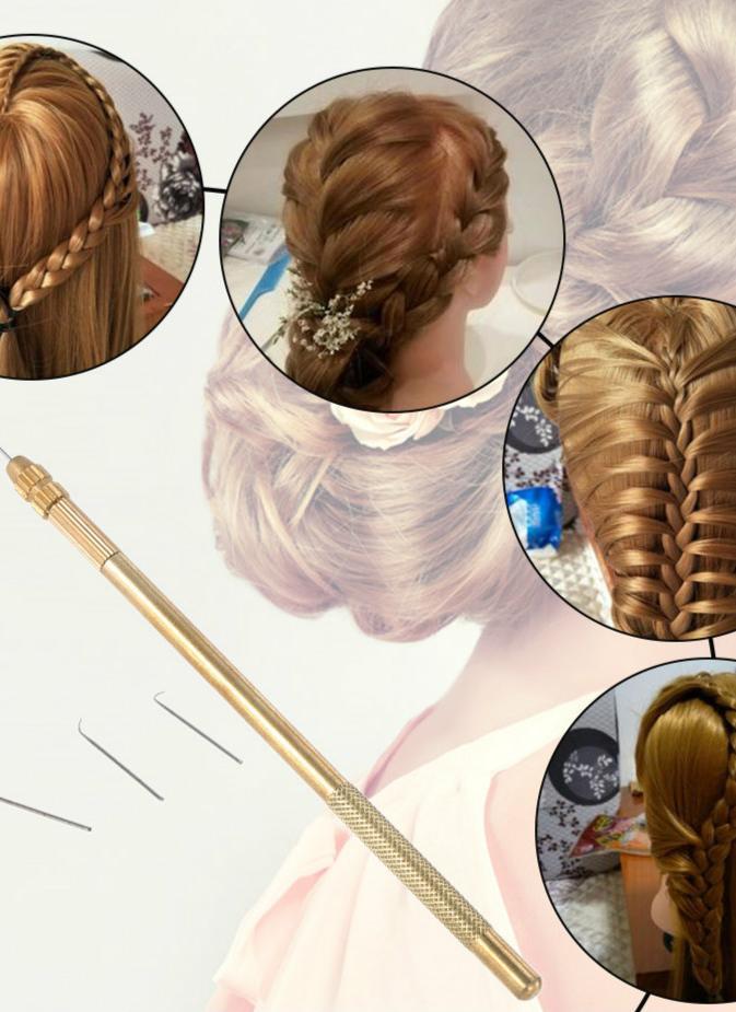 4 Misure di ventilazione Aghi + 1 Brass Holder rendere la riparazione del merletto parrucchino parrucchino Knotting Hook Set