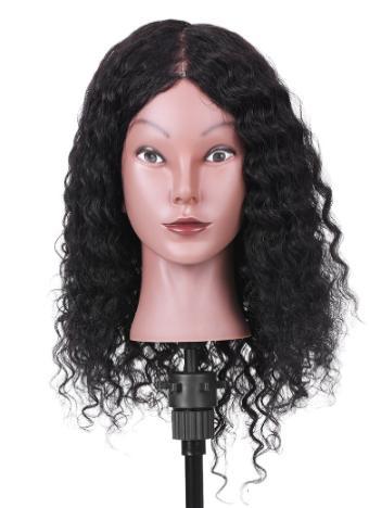 """15 """"100% capelli veri manichino testa capelli ricci testa di formazione cosmetologia mannequin testa salon manichino testa per lo styling dei capelli pratica"""