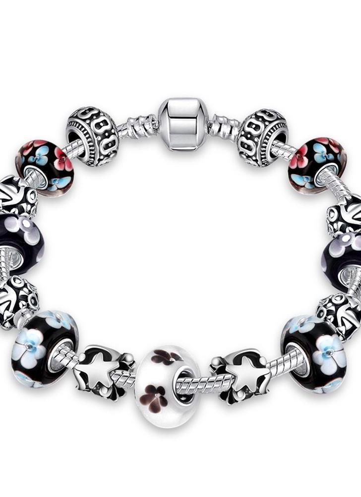 De forma original encanto colorido corrente cristal esferas de prata Metal banhado pulseira Bangle Jewelry por Mulheres do partido Presente da menina