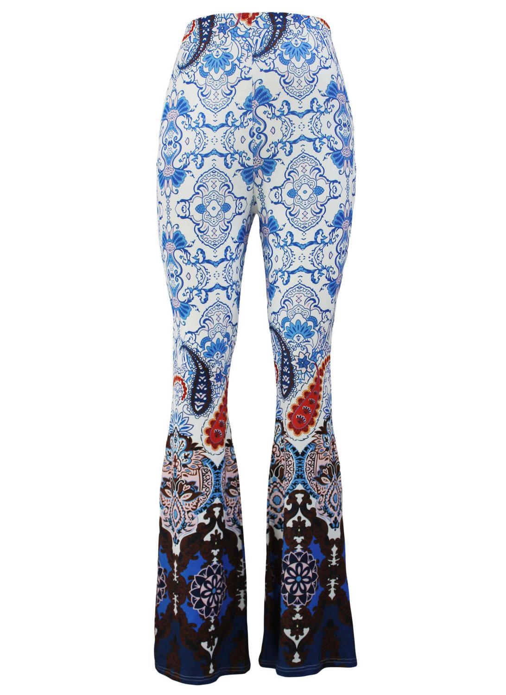 7d1559bfbe00a blau l Mint Paisley Print Flare Palazzo Pants - Chicuu