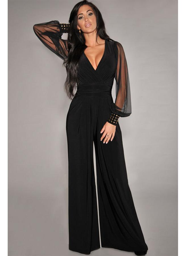 Embellished Cuffs Long Mesh Sleeves Plus Jumpsuit