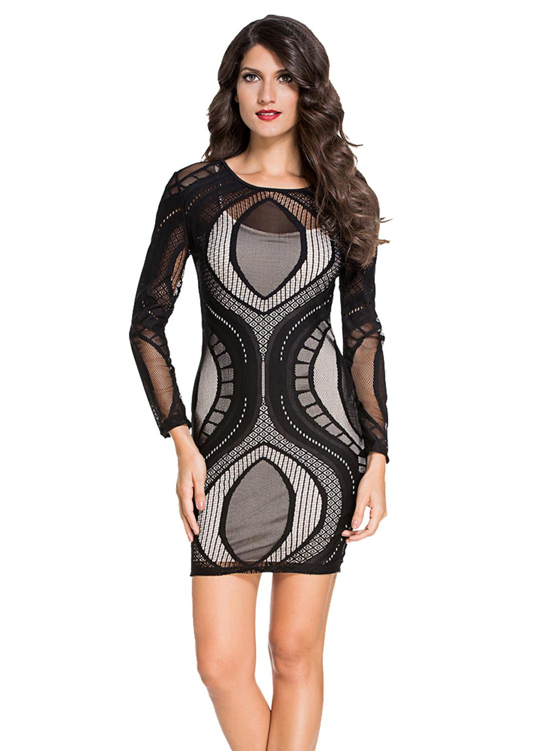 Black M Lace Illusion Long Sleeves Plus Size Bodycon Dress Chicuu