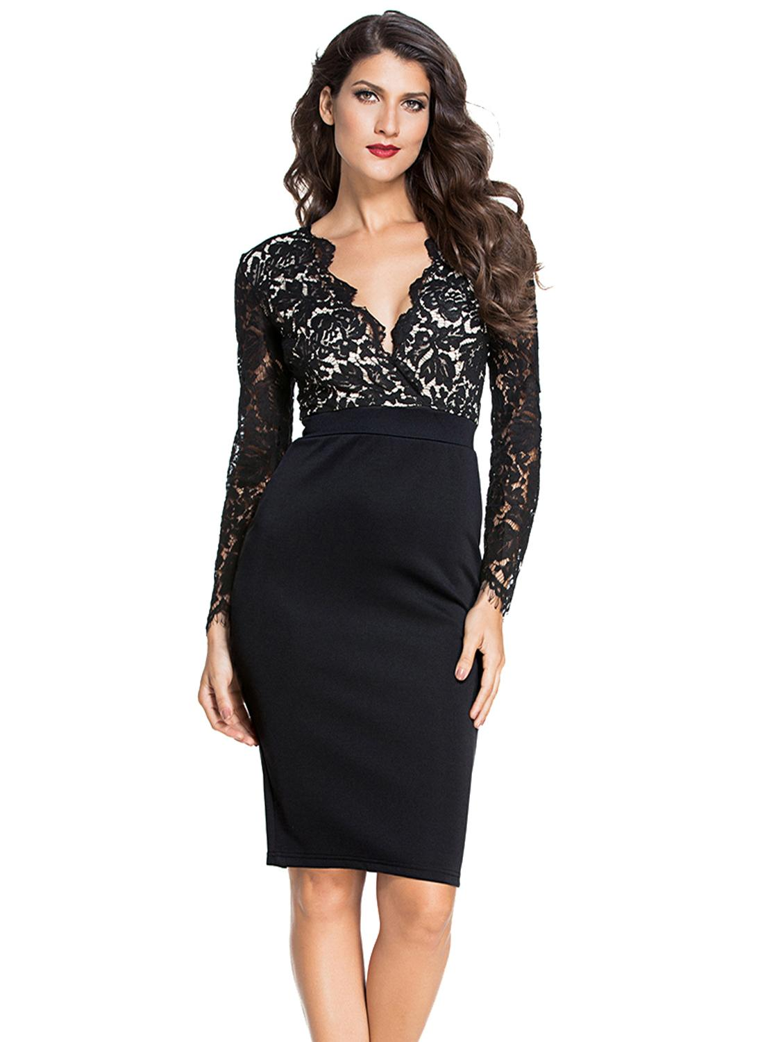 black s Black Lace Nude Illusion Long Sleeves Dress - Chicuu