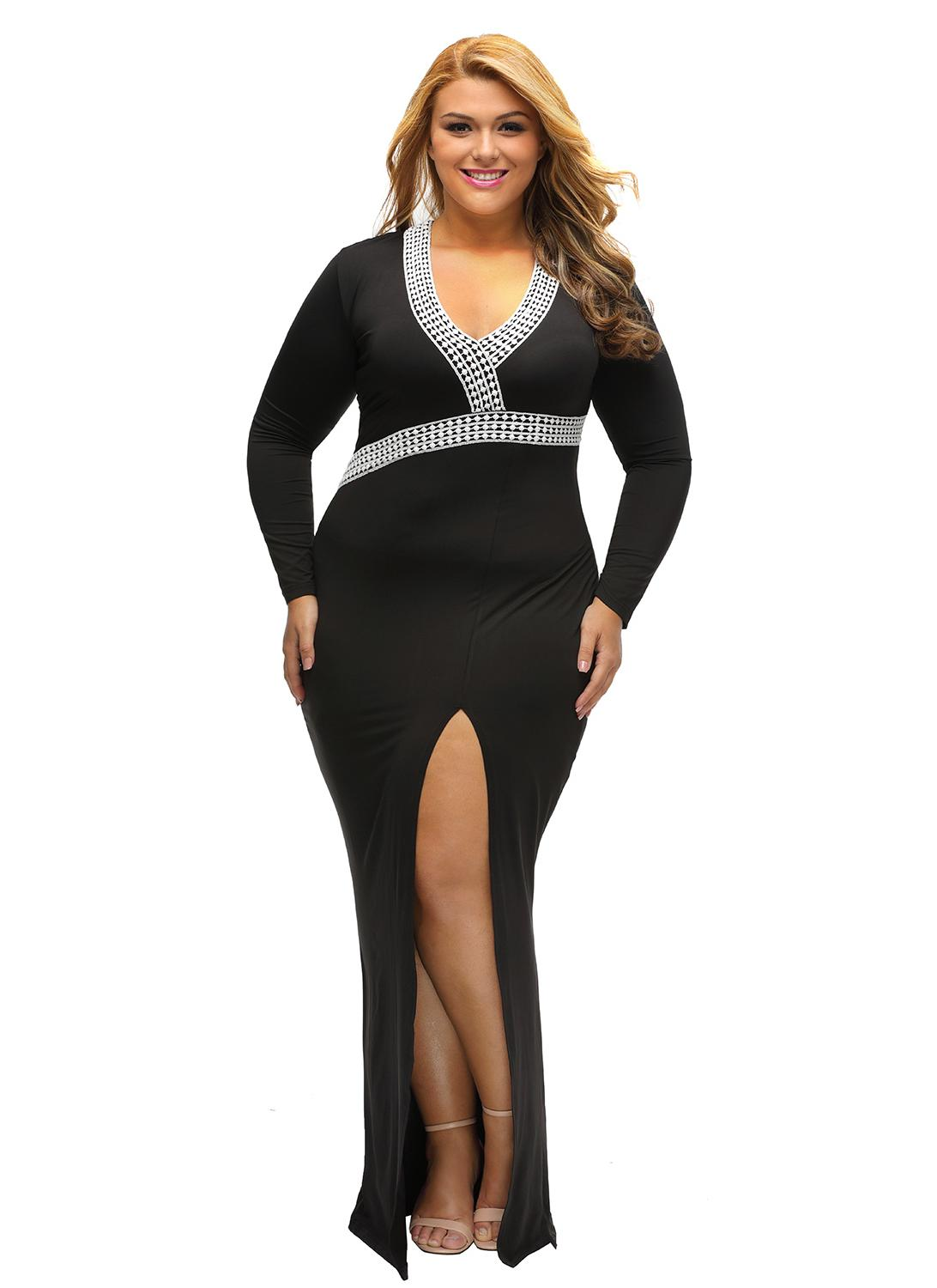 Plus sizes maxi dress long sleeves