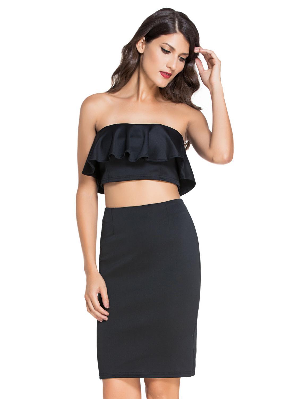 f43f90291aad9 Black Ruffle Two-piece Skirt Set