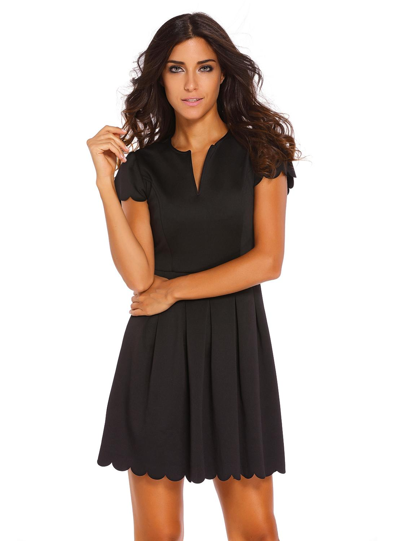 7556d8ebc79 black l Sweet Scallop Pleated Skater Dress - Chicuu