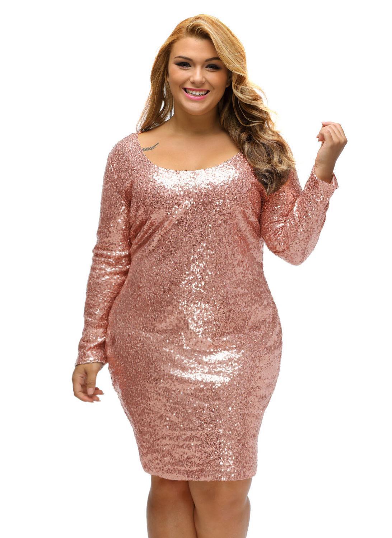 Champagne paillettes più il vestito a maniche lunghe 805f3e27720