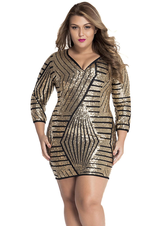 Long Sleeve Gold Sequin Dress