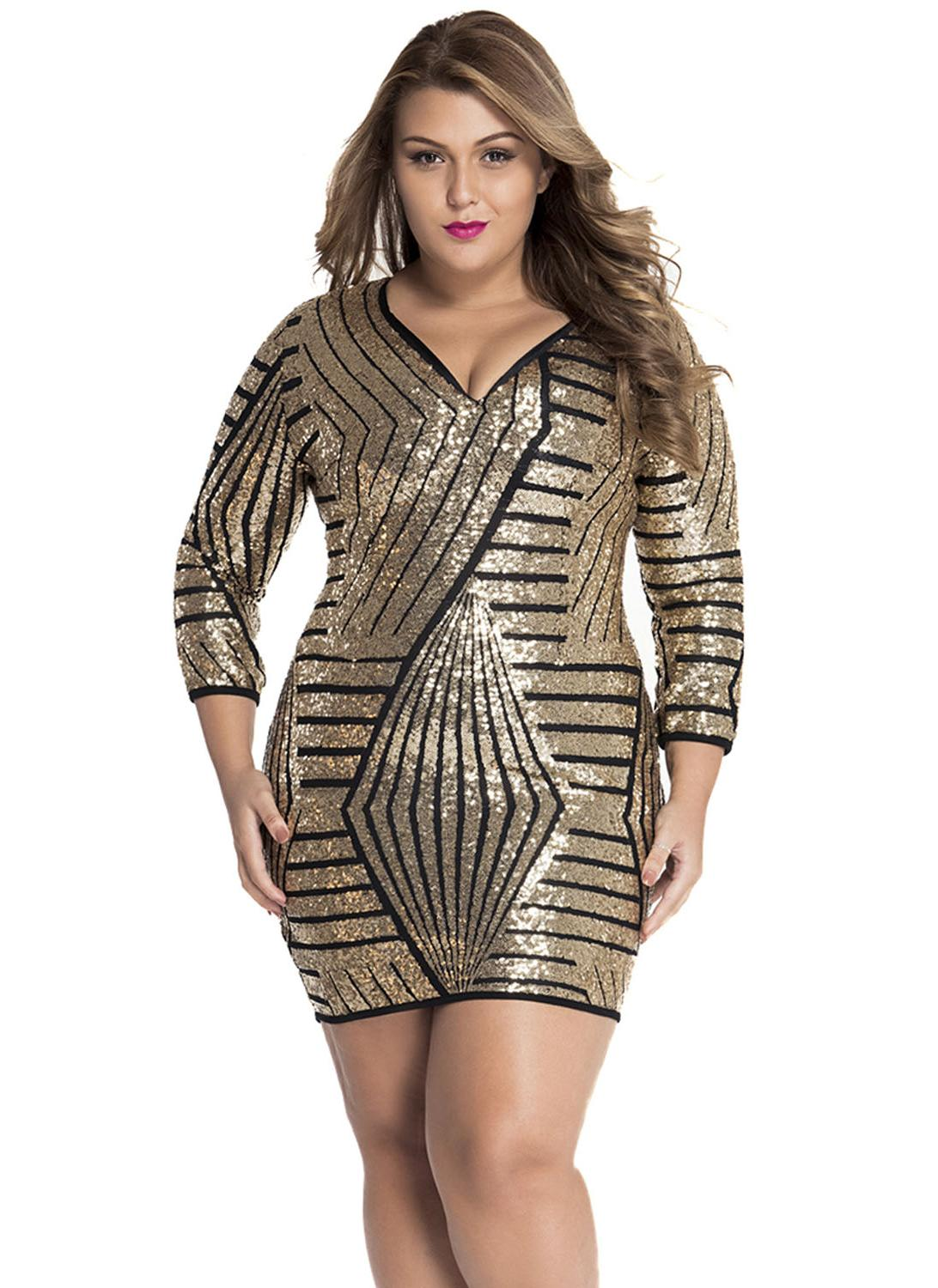 Long Sleeve Gold Sequin Dress