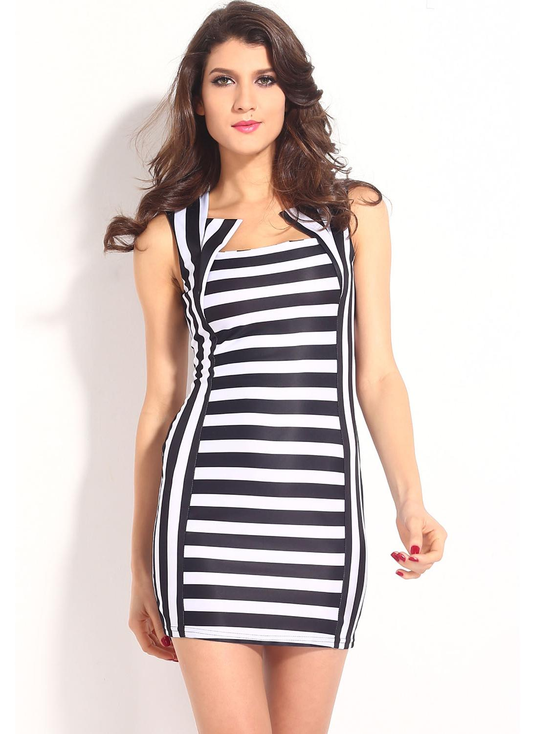 Elegante Black White Stripe Mini Bodycon Dress