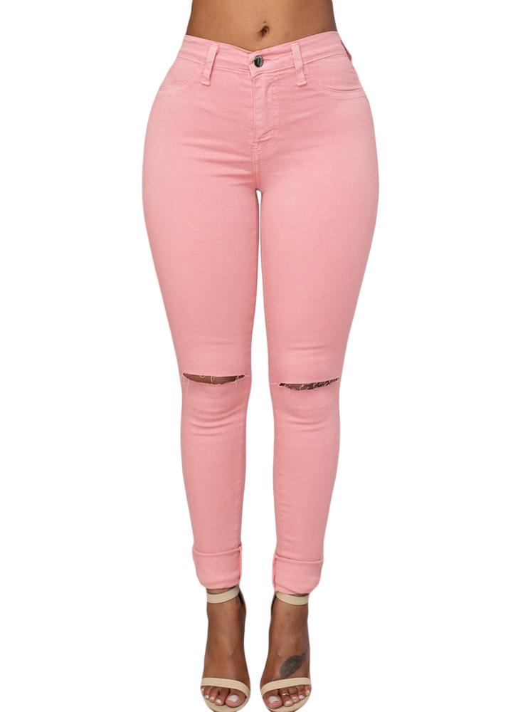 Rose Sexy Plus Size Light Wash Ripped Cut Off Skinny Jeans