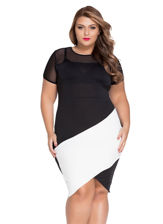 schwarz xxl Sexy Plus Size Curve Body-conscious Asymmetric Color ...