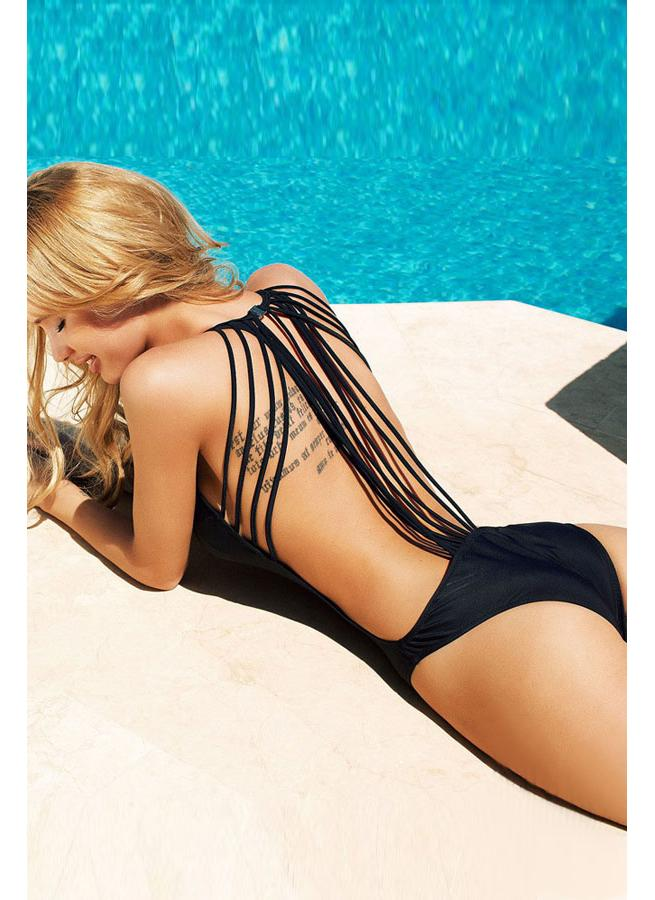 Sexy Backless Strings Strap Black One-piece Swimwear