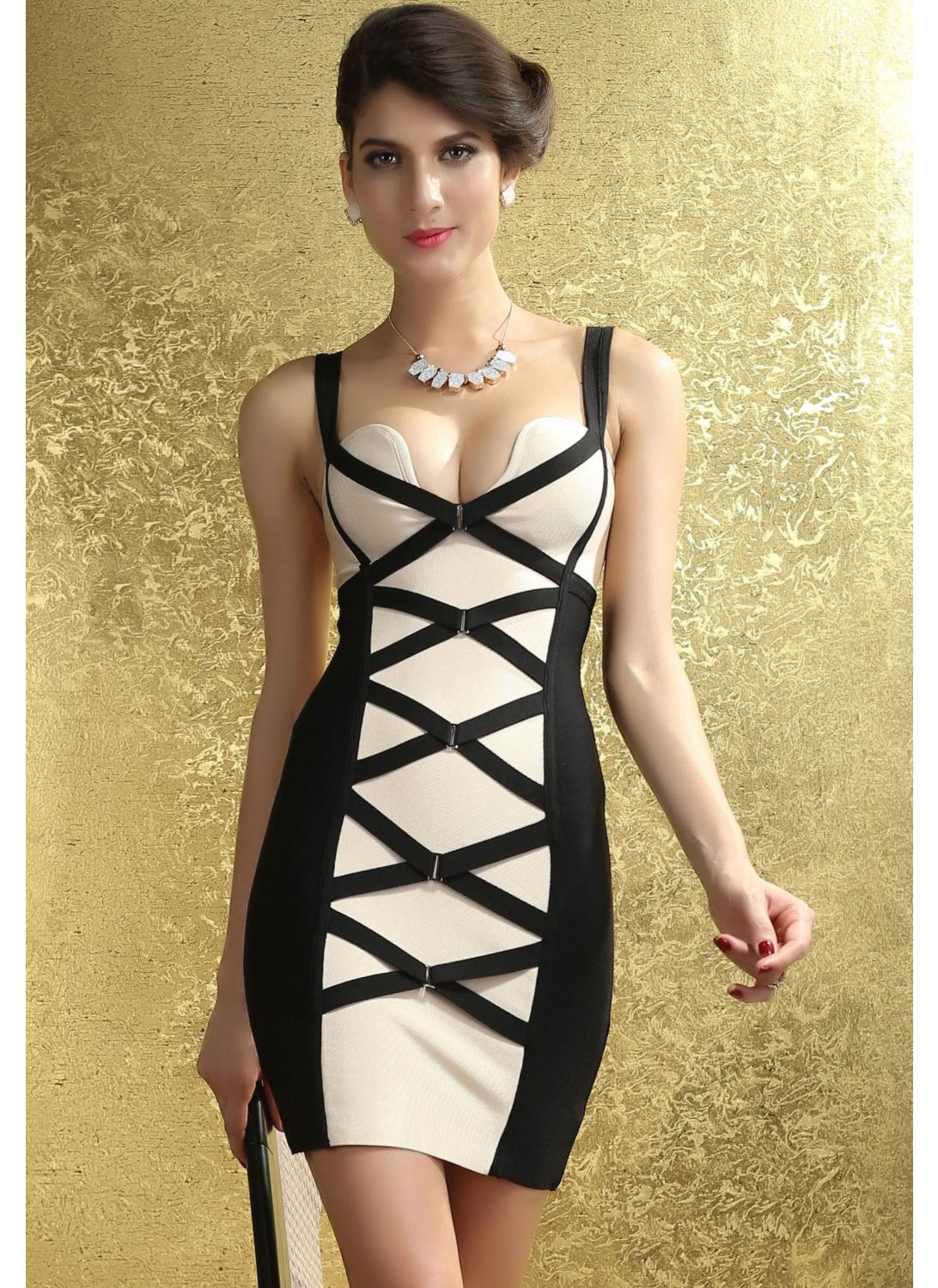 schwarz m Sexy Bodycon Black and Beige Corset Bandage Dress - Chicuu