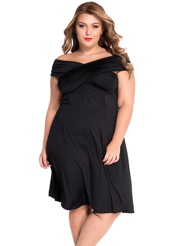 Solid Black Twist Off Shoulder Curvy Skater Dress 77a03244aaa