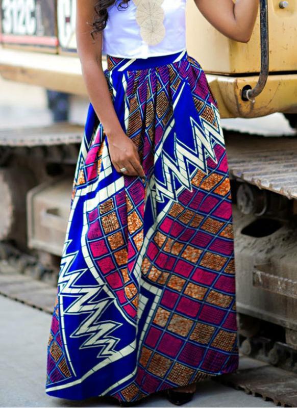 Bohemio plisado cintura alta una línea Maxi Flare falda