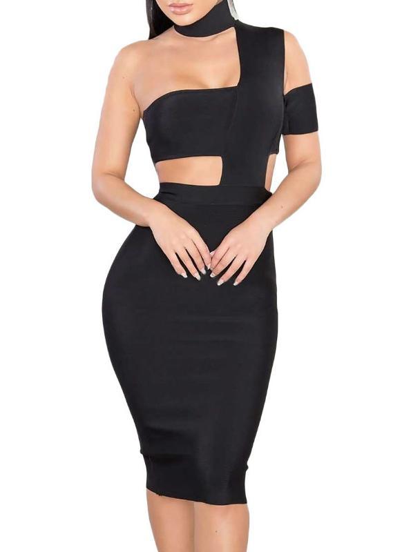 2 l Sexy Halsausschnitt und Verband-Partei-Kleid - Chicuu