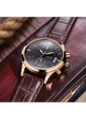 Genuine Leather Analog Water Resistant Men's Quartz Watch