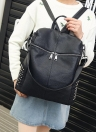 Fashion PU Leather Zipper Adjustable Strap Solid Causal Black Backpack