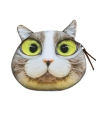 Cute Cat Head Print Zipper Encerramento Mini Moneda Moeda Carteira