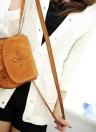 Mulheres Boho Vintage saco de ombro bordado Tassel Stitch borda Flap frontal tiracolo Casual retrô Crossbody Bag camelo