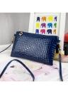 Novas mulheres pequeno saco de ombro PU couro crocodilo Patten Zipper Crossbody Bag Bolsa preto/escuro azul/rosa/roxo