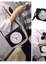 Vintage Clock Print PU Mini Shoulder Messenger Crossbody Bag