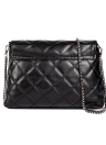 Elegant Tassel Pu Leather Quilted Plaid Chain Thread Black Crossbody Bag