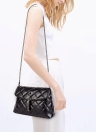 Neue Frauen Tassel Umhängetasche Pu Leder gesteppt karierten Kette Thread Crossbody Messenger Tasche Handtasche schwarz