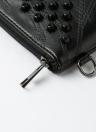 Remache de las mujeres del bolso de embrague de la PU del cuero de la cremallera de la correa extraíble monedero ocasional Crossbody del bolso de hombro Negro