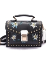 Leather Flower Embroidery Messenger Women's Small Shoulder Bag