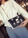Chain Shoulder Bag PU Leather Girls Flower Small Crossbody Bag