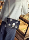 La bolsa de mensajero de las mujeres nueva cadena del bolso del hombro del bolso de cuero de la PU de las muchachas de la flor Pequeño bolso de Crossbody Negro / Blanco