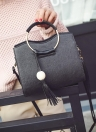 PU Leather Metal Ring Handle Tassel Women's Tote Shoulder Crossbody Bag