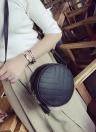 Las mujeres acolchado bolso de Crossbody de la borla de la PU de hombro de cuero de la bolsa de mensajero del bolso de mano Negro / verde / gris