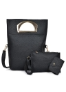 Bolso de la bolsa de embrague del bolso de embrague del bolso de cuero de la PU de las mujeres Sistema de tres piezas