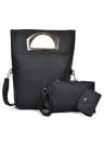 Women PU Leather Handbag Clutch Bag Card Bag Three Piece Set