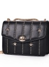 Mini Crossbody Bag PU Leather Rivet Hasp Chain Shoulder Messenger Bag Handbag Red/Black/White