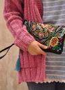 Новая Мода Женщин Сцепления Мешок Вышивка Контрастный Ремешок Элегантный Мобильный Телефон Мешок