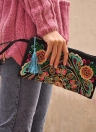Nova mulheres de moda Clutch bordado contraste pulso Pulseira elegante telemóvel do saco