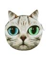 Nueva linda mujer bandolera gato cara dibujos animados impresión cierre Messenger embrague moneda monedero bolso de la cremallera