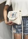 Women Embroidery Flap Top Crossybody Bag