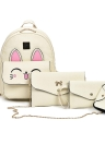 Women PU Leather Rabbit Ear Backpack 4 Piece Set