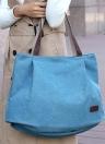 Women Canvas Handbag Solid Color Messenger Crossbody Shoulder Bag