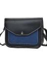 Moda Feminina Contraste Color PU Leather Crossbody Bag