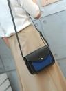 Fashion Women Contrast Color PU Leather Crossbody Bag