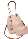 Menina Mulheres Moda PU Balde Saco Tassel Hanging Vintage Sólidos ombro Crossbody Bag duas peças com Clutch Bag